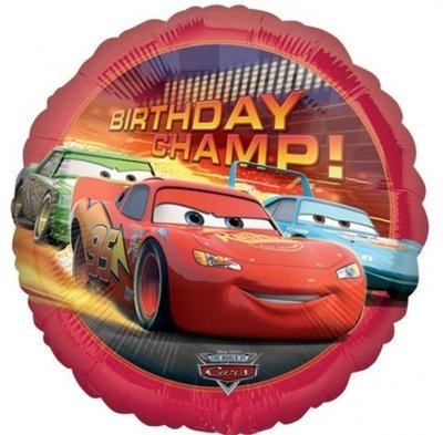 Ballonnenpost Cars 'Birthday Champ' Folie Ballon 45cm