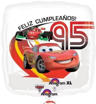 Ballonnenpost Cars 'Feliz Cumpleanos' Magicolour Vierkante Folie Ballon 45cm
