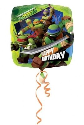 Ballonnenpost TM Ninja Turtles 'Happy Birthday' Vierkante Folie Ballon