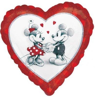Ballonnenpost Mickey & Minnie Mouse Oldies Liefde Holografische Folie Ballon 43cm