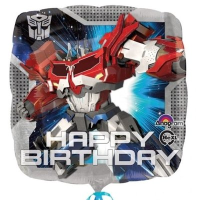 Ballonnenpost Transformers 'Happy Birthday' Vierkante Folie Ballon 45cm