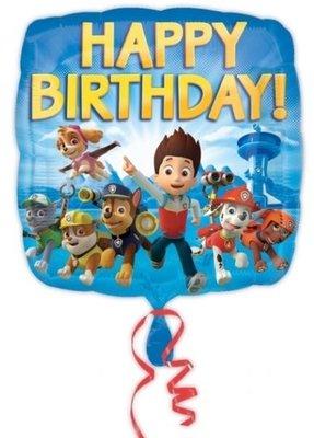 Ballonnenpost Paw Patrol 'Happy Birthday' Vierkante Folie Ballon 45cm
