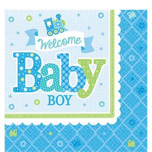 Welkom Baby Jongen Tafel Servetten 16st