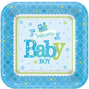 Welkom Baby Jongen Vierkante Papieren Borden 8st
