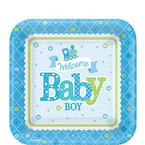 Welkom Baby Jongen Vierkante Papieren Dessert Borden 8st