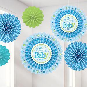 Welkom Baby Jongen Waaier Decoratie 6st