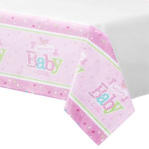 Welkom Baby Meisje Plastic Tafelkleed 120x180cm