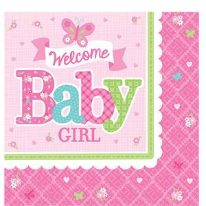 Welkom Baby Meisje Tafel Servetten 16st