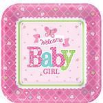 Welkom Baby Meisje Vierkante Papieren Borden 8st