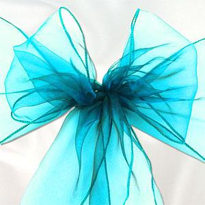 Turquoise Organza Stoel Sjerp 6st