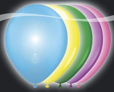 Ballonnen met LEDverlichting Latex Assorti. Kleur 5st