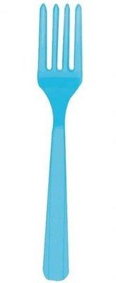 Caribisch Blauw Plastic Vorken 10st