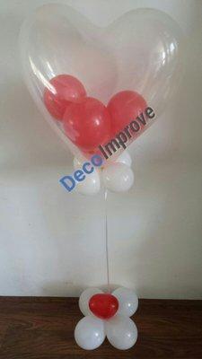 Gevuld Hart Transparant Helium Ballon