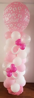 Roze 'It's A Girl' Ballonnenpilaar met Spenen