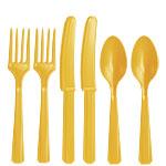 Zonneschijn Geel Plastic Bestek Set 24delig