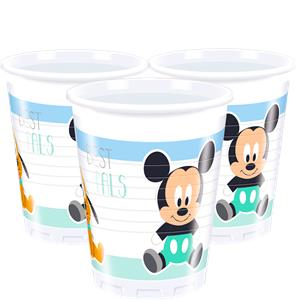 Baby Mickey Plastic Bekers 8st