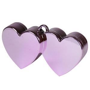 Roze Dubbele Harten Ballongewichtje