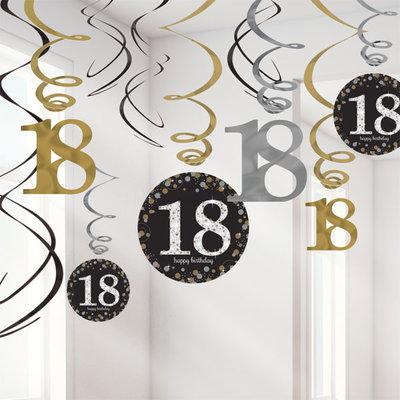 Sprankelende 18e Verjaardag Hangkrullen 12st