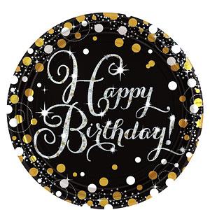 Sprankelende Verjaardag 'Happy Birthday' Papieren Borden 8st