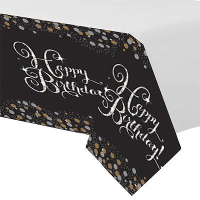 Sprankelende Verjaardag 'Happy Birthday' Plastic Tafelkleed 137x259cm