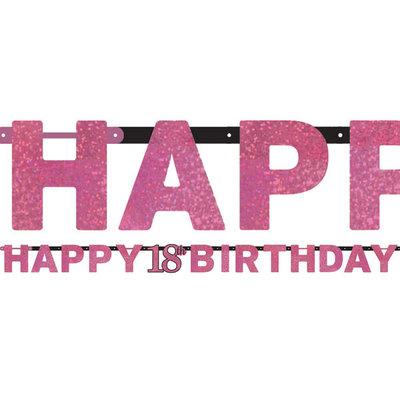 Sprankelende Roze 18e Verjaardag 'Happy Birthday' Letter Slinger 213cm