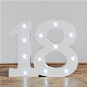 Verlichte Mijlpaal Nummer '18' Lichtbord Wit