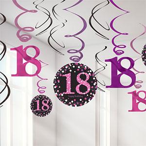 Sprankelende Roze 18e Verjaardag Hangkrullen 12st