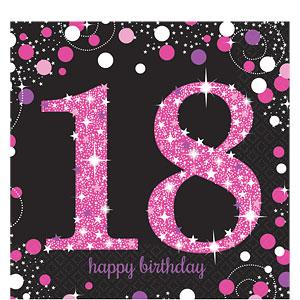 Sprankelende Roze 18e Verjaardag Lunch Servetten 16st