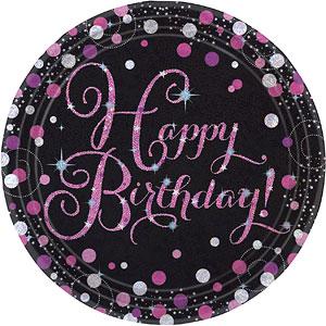 Sprankelende Roze Verjaardag 'Happy BIrthday' Papieren Borden 8st