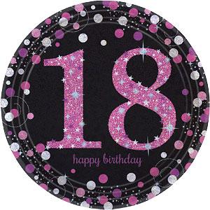 Sprankelende Roze 18e Verjaardag Papieren Borden 8st