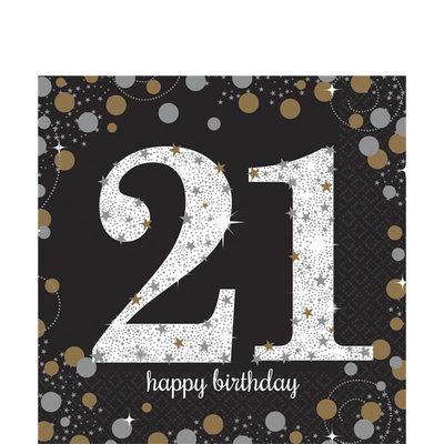 Sprankelende 21e Verjaardag Lunch Servetten 16st