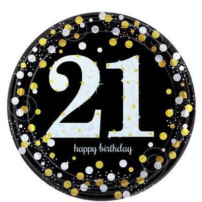 Sprankelende 21e Verjaardag Papieren Borden 8st