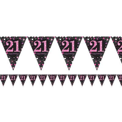 Sprankelende Roze 21e Verjaardag Vlaggenlijn 4m