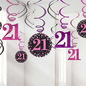 Sprankelende Roze 21e Verjaardag Hangkrullen 12st