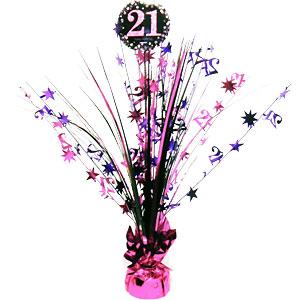 Sprankelend Roze 21e Verjaardag Tafeldecoratie 46cm