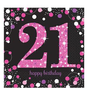 Sprankelen Roze 21e Verjaardag Lunch Servetten 16st