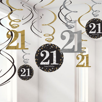 Sprankelende 21e Verjaardag Hangkrullen 12st