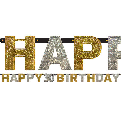 Sprankelende 30e Verjaardag 'Happy Birthday' Letter Slinger 213cm