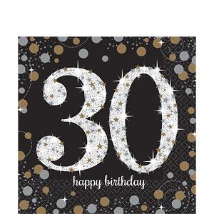 Sprankelende 30e Verjaardag Lunch Servetten 16st