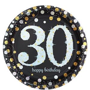 Sprankelende 30e Verjaardag Papieren Borden 8st