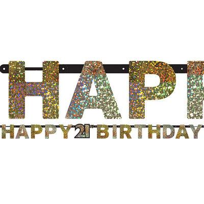 Sprankelende 21e Verjaardag 'Happy Birthday' Letter Slinger 213cm