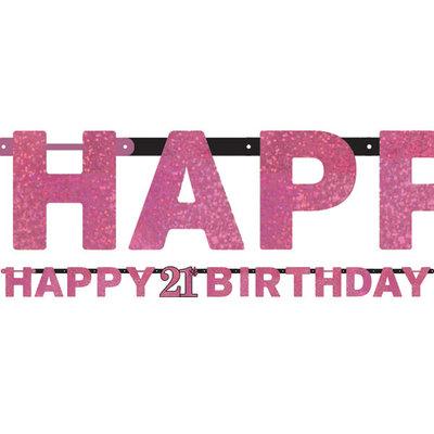 Sprankelende Roze 21e Verjaardag 'Happy Birthday' Letter Slinger 213cm