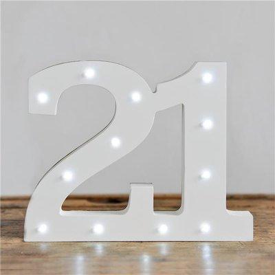 Verlichte Mijlpaal Nummer '21' Lichtbord Wit