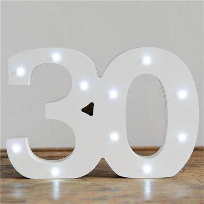 Verlichte Mijlpaal Nummer '30' Lichtbord Wit