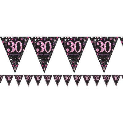 Sprankelend Roze 30e Verjaardag Vlaggenlijn 4m