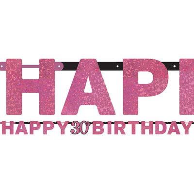 Sprankelende Roze 30e Verjaardag 'Happy Birthday' Letter Slinger 213cm