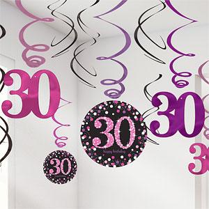 Sprankelend Roze 30e Verjaardag Hangkrullen 12st