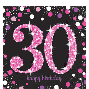 Sprankelende Roze 30e Verjaardag Lunch Servetten 16st
