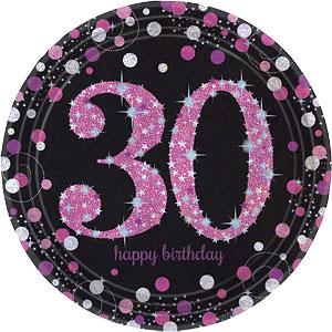 Sprankelend Roze 30e Verjaardag Papieren Borden 8st