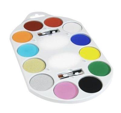 Multi-Colour Make-Up FX Waterbasis Schmink en Bodypaint Pallet 12 Kleuren